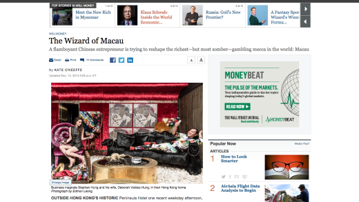 The Wall Street Journal – The Wizard of Macau – Photo by Edmon Leong (Assistant Mars and Alan)